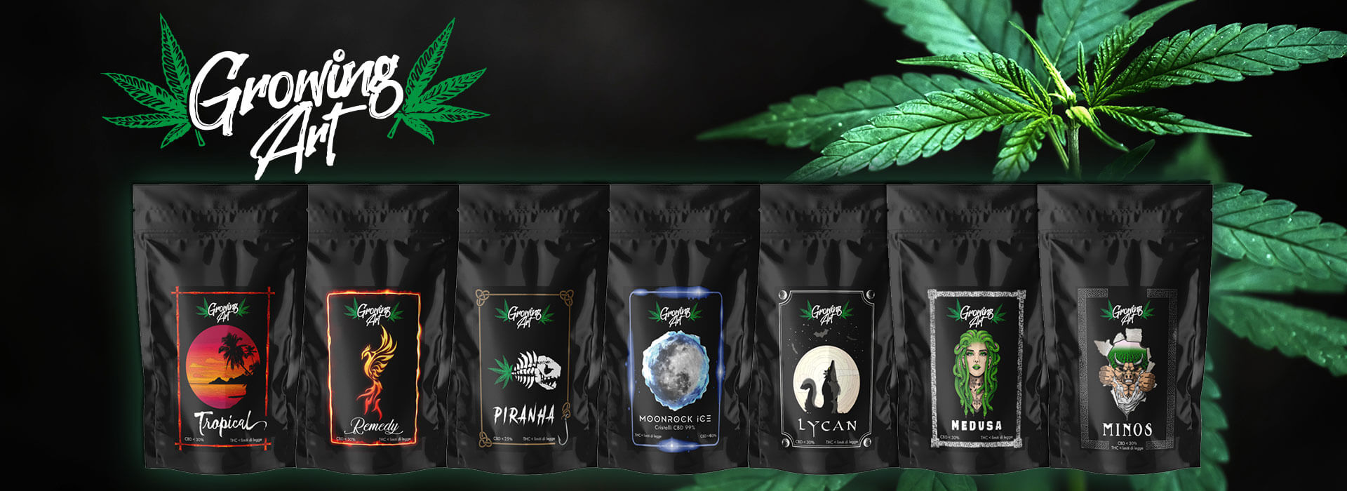 Shop cannabis legale – Linea infiorescenze canapa light CBD Growing Art - Slider