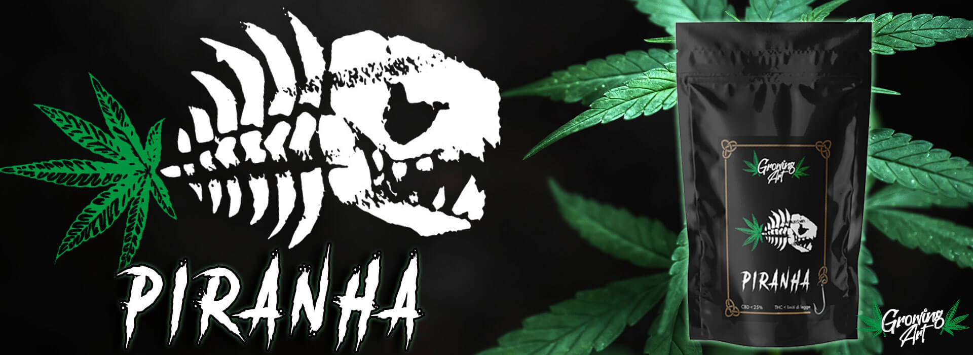Shop cannabis legale – Infiorescenze canapa light CBD Growing Art Piranha - Slider